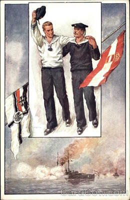 WWI German Sailors with Flags Postcard Vintage Post Card