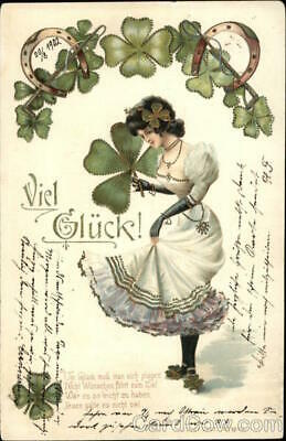Women Good Luck Girl with 4-Leaf Clover & Horseshoes Postcard Vintage Post Card