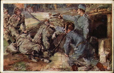 WWI German Military Fighting at Close Range Postcard Vintage Post Card