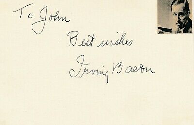 Irving Bacon- Vintage Index Card Signed in Person