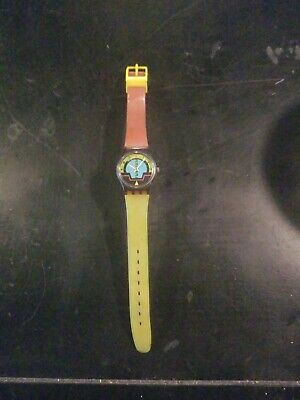 1980's Vintage Ladies SWATCH watch.  Yellow and red band