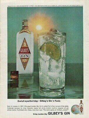 1965 Gilbey's Gin 'N Tonic World Globe Bottle Glass Lime Vintage Color Print Ad