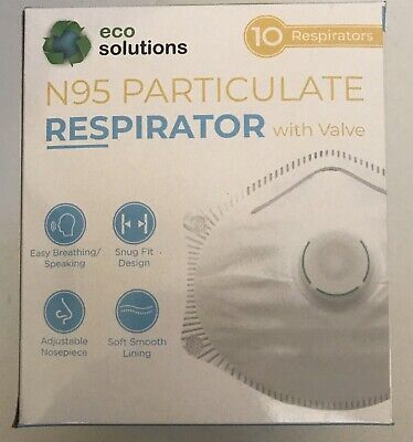 New Eco solutions Mask W/Valve 10 Count Brand New In Box Sealed