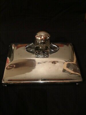 Antique Silver Plate Inkwell Penstand