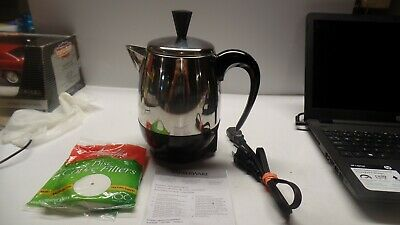 FARBERWARE 2- 4 Cup Percolator, Stainless Steel FCP240 Coffee Pot w Filters Inst