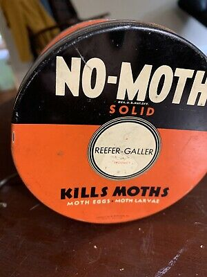 1950s Vintage Reefer Galler No-Moth Tin. Orange, Black and White With Hanger
