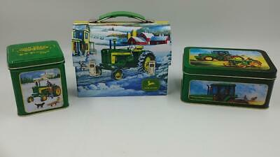 John Deere Tin Boxes and Lunch Box – Gift Candy Storage -VGC