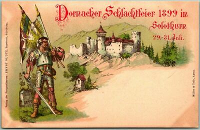 1899 Switzerland Postcard Solothurn - DORNACHER SCHLACHTFEIER Poster Art Unused