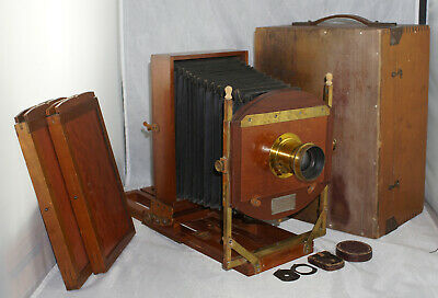 E. & H.T. Anthony 5x8 Novelette View Camera Outfit w/ Darlot Lens & Holders