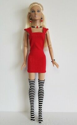 TYLER DOLL CLOTHES Red Dress, B&W Stockings and Jewelry Set Fashion NO DOLL d4e