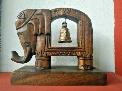 Wooden Bell Holder Elephant Shaped Brass Home Decor Gift Collect Vintage Style
