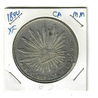 1894  MEXICO  Ca-MM  SILVER 8 Reales  CAP & RAYS  (XF)
