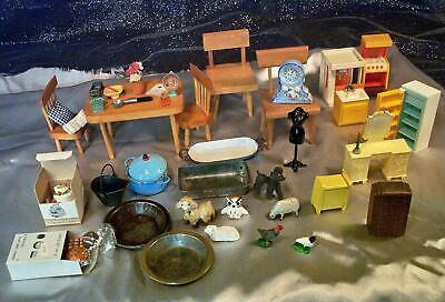 All Vintage Dollhouse Miniatures 1940's - 60's Some Strombecker 45 Pcs Assorted