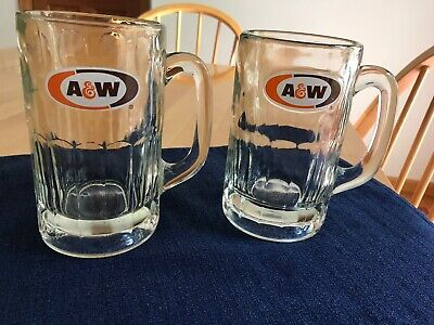 "2 VINTAGE A&W ROOT BEER LOGO MUG - 6"" Tall, Heavy Glass,"