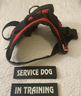 Service Dog Vest Harness Reflective With Handle Adjustable Patches Red Size: XS