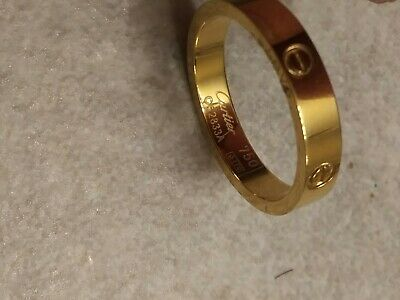 Cartier Love 3.6mm Wedding Band Thin 18K 750 Rose Gold Ring Size 10