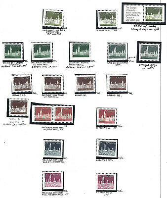 CANADA BOOKLET PANE STAMPS VARIETIES SCOTT 938/948i VF MINT NH (BS15736)