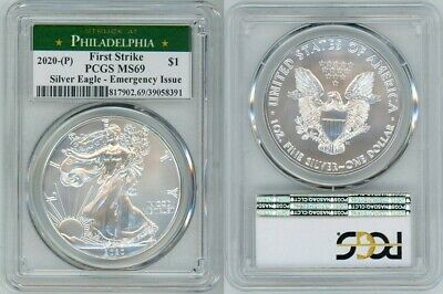 2020 (P) Silver American Eagle Emergency Pcgs Ms69 Philadelphia Firststrike 66