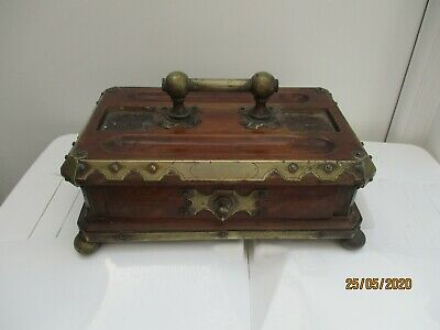 A Late Victorian Oak & Metal Inkwell Stand c1890/1900