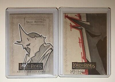 Topps Lord of the Rings Masterpieces 2 Sketch Cards Lot Of 2 WitchKing Of Angmar