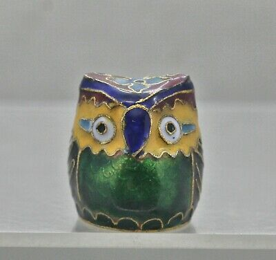 Colourful Vintage Chinese Brass Cloisonne Owl Handmade Hand Painted