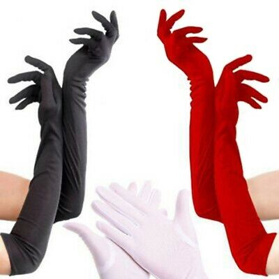 Women Solid Silk Smooth Long Gloves Wedding Party Club Prom Costume US