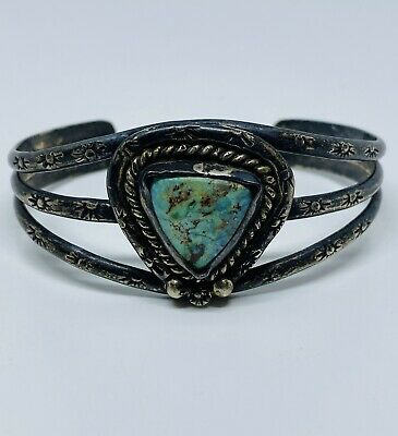 Antique (ca. 1915) Signed Old Pawn Ingot Silver & Turquoise Navajo Cuff
