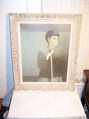 Large Vintage Carved Wood Mexican Picture Frame Painting Chicago Irene Fisher