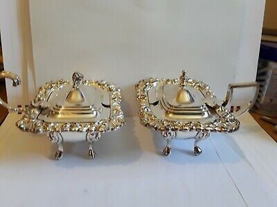 Pair  Of SUPERB  Silver Plated  MUSTARD Pots Excellent Condition