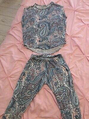 Girls Leggings & Top Set Age 11-12 Excellent Condition (See Pics Of Back of Top)