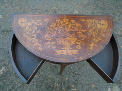 Wonderful Marquetry Antique Card Games Side Table