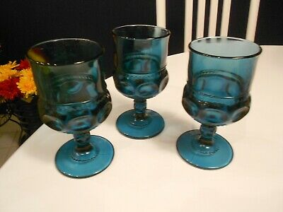 """Vintage (3) Green/Blue Kings Crown Glass Goblets 5 1/2"""" Tall Vg+ Condition"""