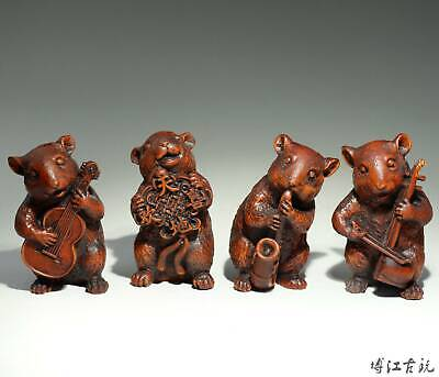 Collectable Old Boxwood Hand-Carved Four Mouse Make Music Interesting Statue