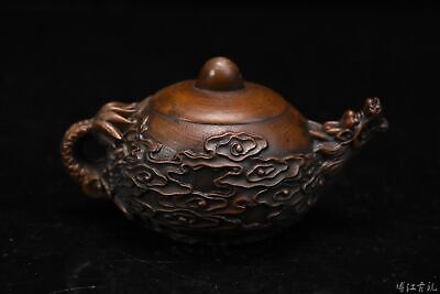 Collectable China Old Boxwood Hand-Carved Myth Dragon Bring Luck Tea Pot Statue