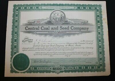 1918 Central Coal & Seed Company Stock Certificate Boise Idaho Low serial #12