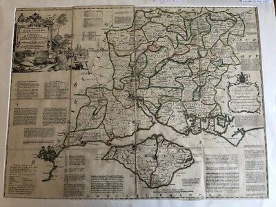 Hampshire. Very large map by Thomas Kitchen. Folding map with slipcase. Rare.