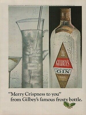 1966 Gilbey's Distilled Gin Merry Crispness To You Frosty Bottle Photo Print Ad