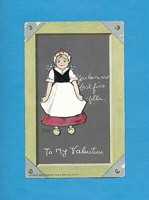 Cute DUTCH GIRL, SLATE BOARD, A/S CURTIS Vintage Unused TUCK VALENTINE Postcard