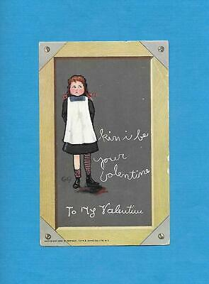 Cute GIRL, SCHOOL SLATE BOARD, A/S CURTIS Vintage Unused TUCK VALENTINE Postcard