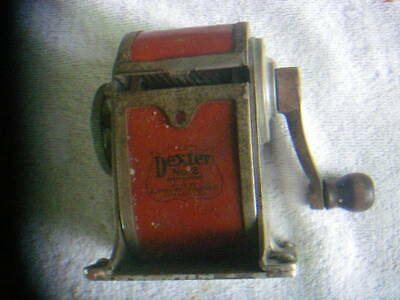 Pencil Sharpener Dexter no 2 Antique Wall Mount Crank Heavy Cast Metal Vintage
