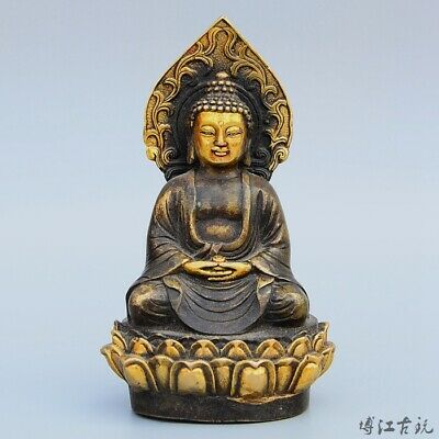 Collectable China Old Bronze Hand-Carved Auspicious Bring Luck Guan Yin Statue