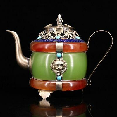 Collect China Old Miao Silver Armour Agate Carve Myth Dragon & Monkey Tea Pot