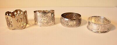 4 no. Silver and Silver Plated Antique Napkin Rings