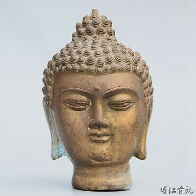 Collectable China Old Bronze Hand-Carved Auspicious Buddhism Buddha Head Statue