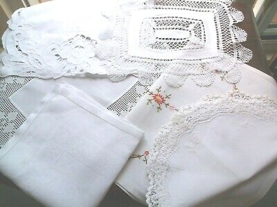 Vintage Linen/Cotton Crochet Edge Embroidered Table Toppers