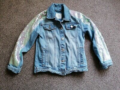 Next Girls Sequin Denim Jacket Age 10