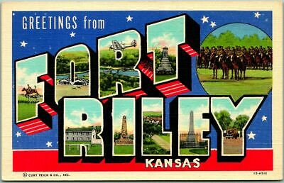 1940s FORT RILEY Kansas Large Letter Postcard Military Curteich Linen Unused