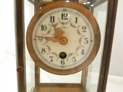 French Black Starr & Frost Brass & Glass Mantle Clock