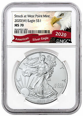 2020(W) 1 oz Silver American Eagle Struck West Point Mint NGC MS70 Eagle Label