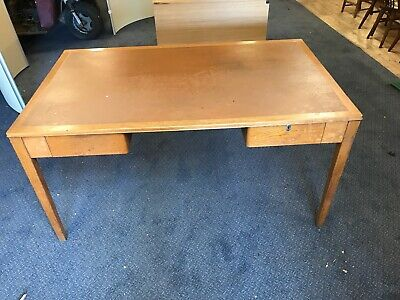 Vintage solid Wood office school teacher desk with two drawers mid century